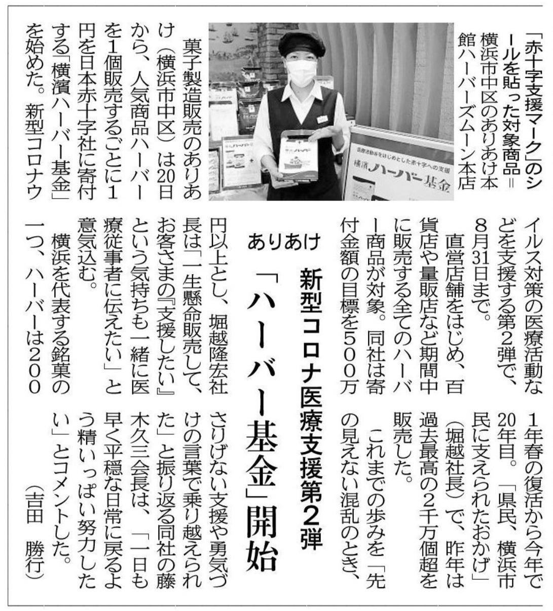 2020年5月23日 神奈川新聞「新型コロナ医療支援第2弾 ハーバー基金開始」記事掲載